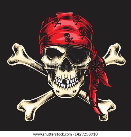 pirate skull crew vector logo