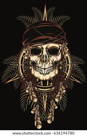 pirate skull in bandanna with