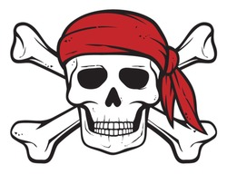 pirate skull, red bandana and bones