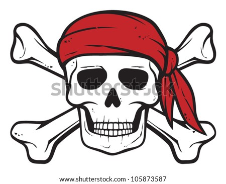pirate skull  red bandana and