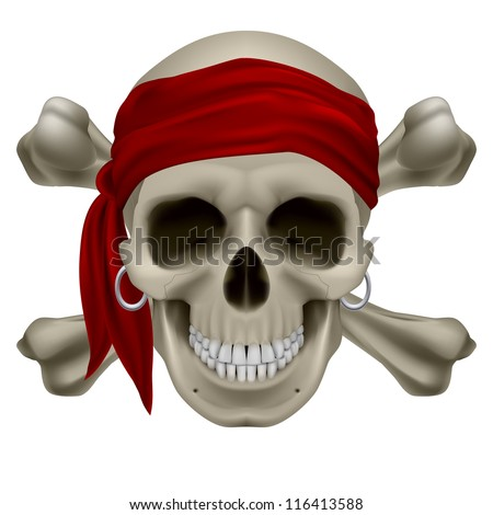 Pirate Skull, Red bandanna and bones. Illustration on white