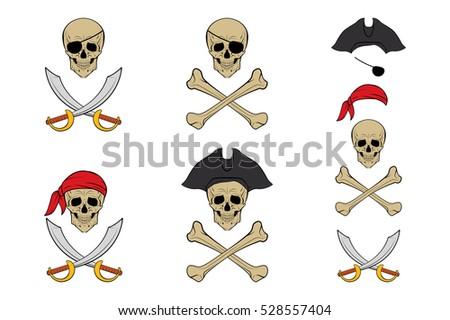 pirate skull set vector design