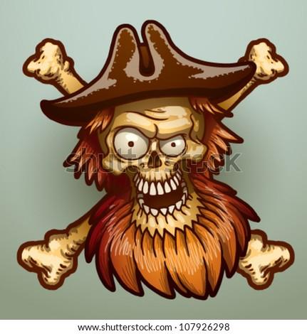 Pirate skull, vector 02