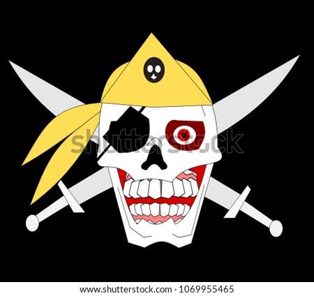 pirate skull with bandana and