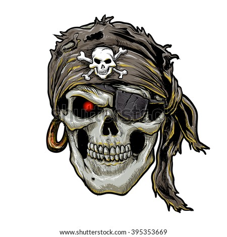 pirate skull with black bandana