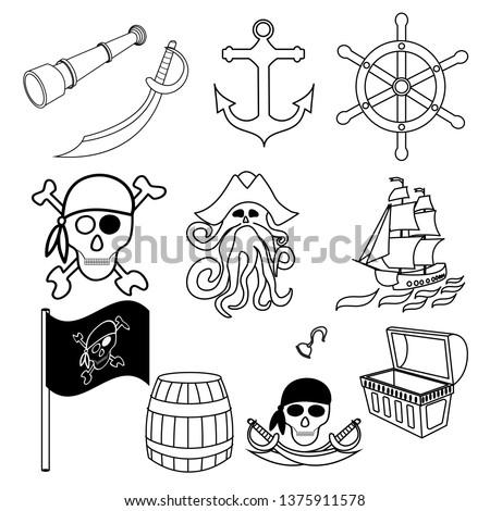 pirate symbols swords  treasure