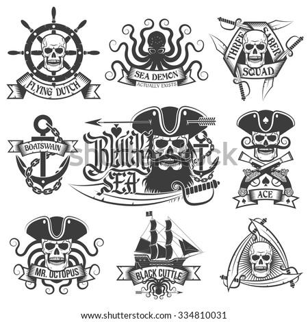 pirate tattoo set unique
