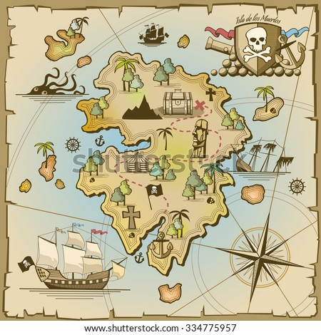 Stock Photo Pirate treasure island vector map. Sea ship, adventure ocean, skull and paper, navigation art and cannon illustration