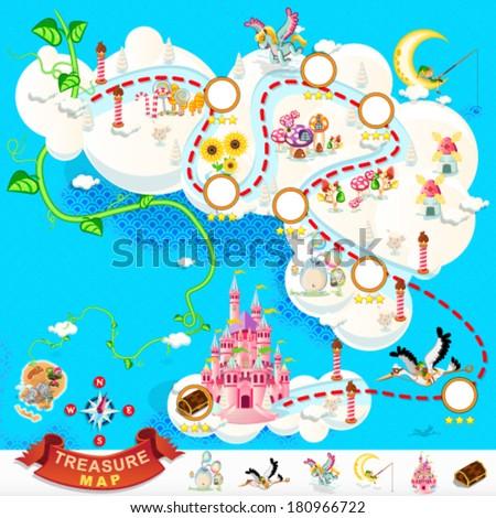 pirate treasure map and sky
