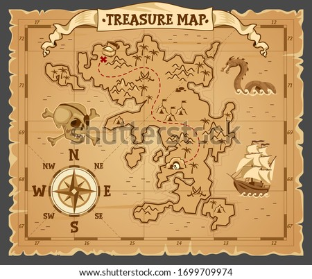Pirate treasure map on ruined old parchment vector illustration. Antique paper with cross red mark, compass, banner ribbon and palm tree cartoon design. Medieval cartography concept