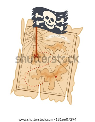 Pirate treasure map with coordinates, pirate flag, skull crossbones and old ancient earth vector isolated