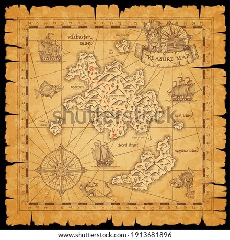 Pirate treasure scroll map with vector sketches of sea, filibuster islands and ships, marine travel and adventure design. Nautical compass roses, sail boats, anchors and pirate chest with red path Stock photo ©