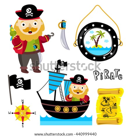 pirate vector hat with a parrot