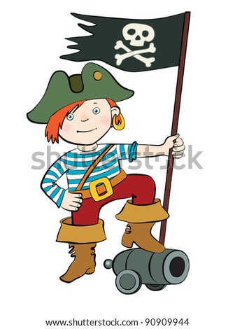 pirate with flag vector