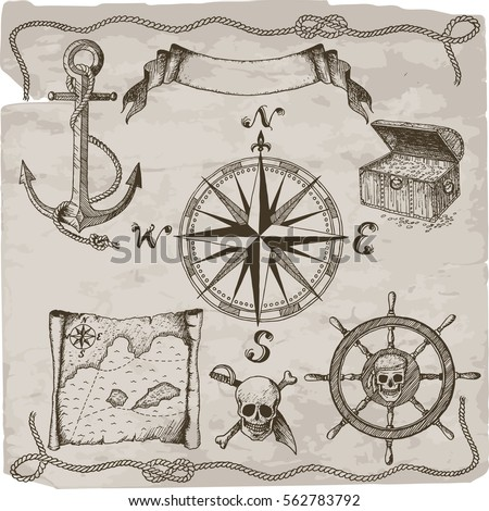 pirates hand drawn vector set