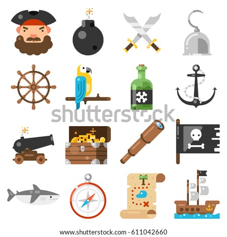 pirates icons vector set on