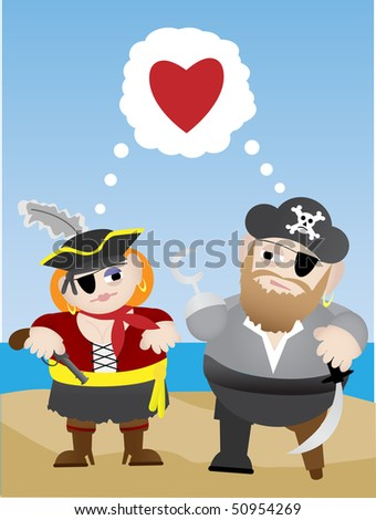 In Love Cartoon. stock vector : Pirates in love