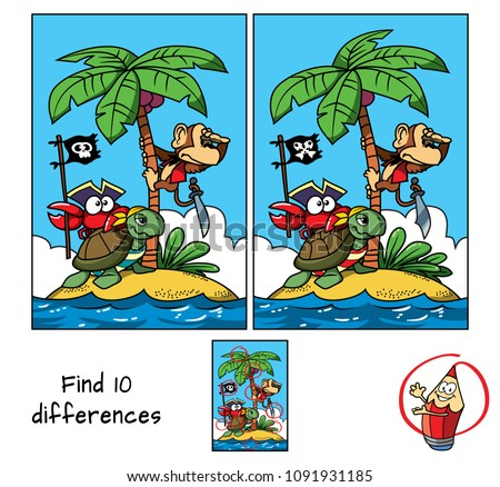 Pirates island. A monkey on a palm tree, a turtle and a funny crab with a pirate flag. Find 10 differences. Educational game for children. Cartoon vector illustration