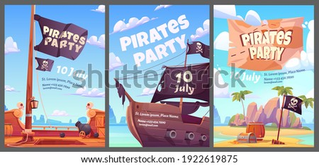 Pirates party kids adventure cartoon posters with treasure chest with gold on secret island, filibuster ship with jolly roger flag and cannon, invitation to children event, vector vertical flyers set