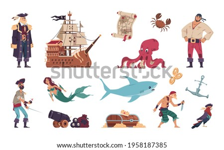 Pirates set. Cartoon crew of filibusters and captain on sailing ship. Mermaid swimming with marine animals. Treasure map and chest full of gold coins. Vector sea robbers collection Сток-фото ©