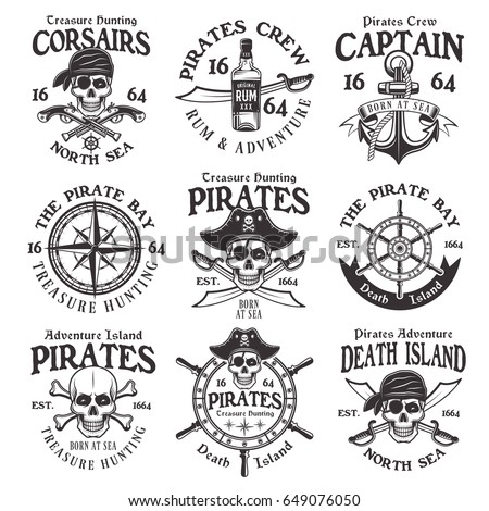 Pirates set of vector vintage emblems, labels, badges and logos in monochrome style isolated on white background