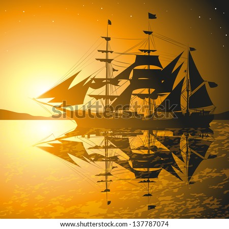 pirates ship against sunset