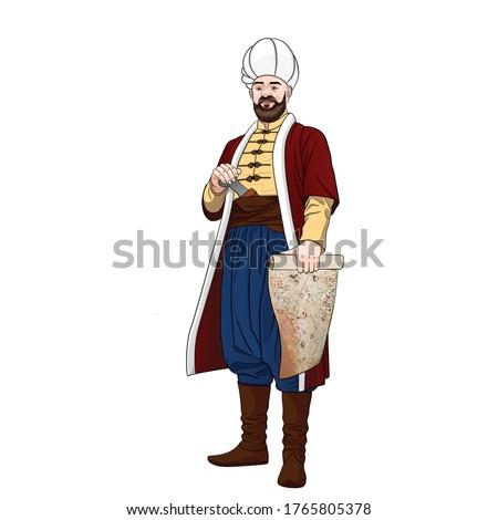 Piri-reis is also Muhiddin Piri-bey - Ottoman navigator, admiral and cartographer. Stock foto ©