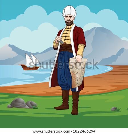 Piri-reis is also Muhiddin Piri-bey - Ottoman navigator, admiral and cartographer. Stockfoto ©