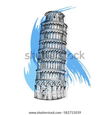 pisa tower sketch vector...