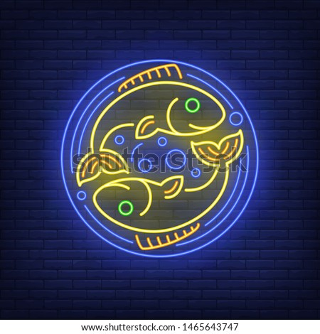 pisces neon sign two fishes in