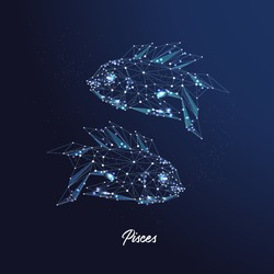 Pisces zodiac sign. The symbol of the astrological horoscope. Polygonal illustration