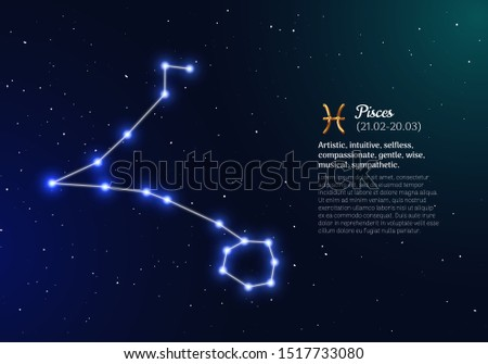 Pisces zodiacal constellation with bright stars. Pisces star sign and dates of birth on deep space background. Astrology horoscope with unique positive personality traits vector illustration.