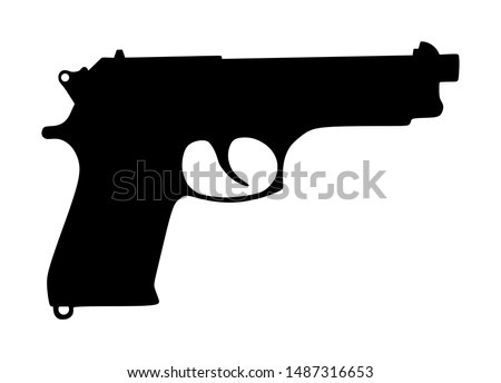 Pistol Gun Icon Vector silhouette Illustration isolated on white background. Risk in conflict situation. police and military weapon. Defense help option against enemy aggressor. Anti terrorism action.