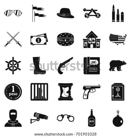 pistol icons set simple set of