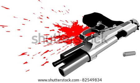 pistol lying in a pool of blood