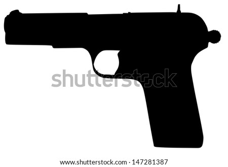 pistol revolver black silhouette isolated on white background vector, illustration,for battle, war situation,conflict, army gun, vintage, projectile, modern pistol, polymer, velocity, service, shot