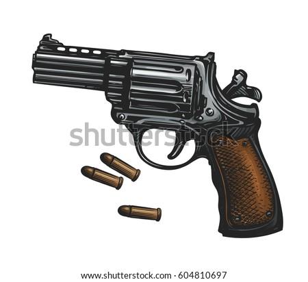 pistol  revolver gun and ammo