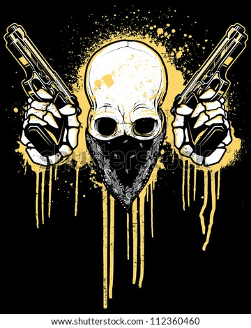 Pictures of Skulls Wearing Bandanas http://www.shutterstock.com/pic-112360460/stock-vector-pistol-toting-skull-with-bandana-vector-illustration-of-a-skull-wearing-a-black-bandana-over-his.html