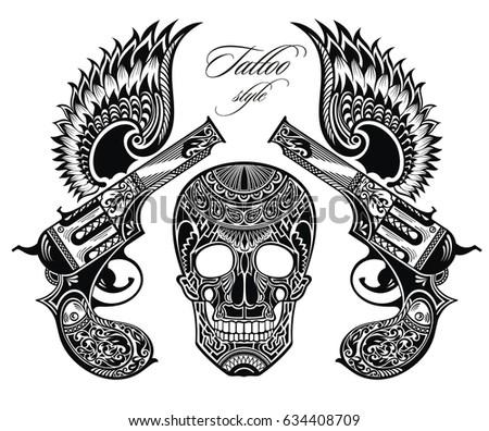 pistols tattoo illustration