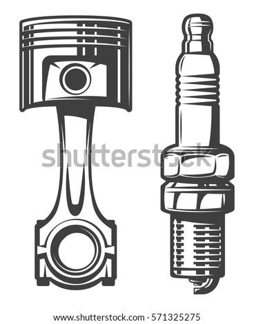 piston and spark plug