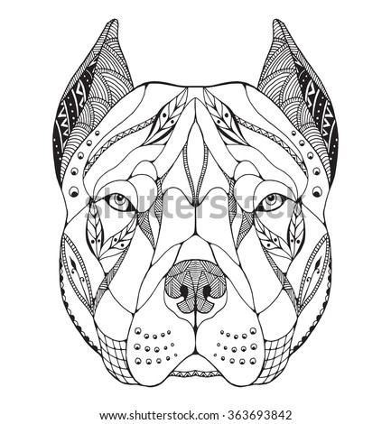 pit bull terrier head zentangle