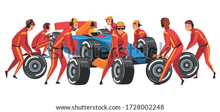 pit stop crew members in red