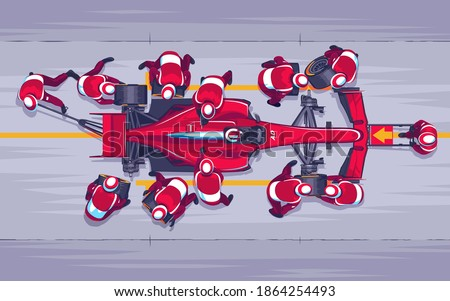 Pit stop in races f1. Replacing wheels on the race. Red speed car. A team of professionals engaged in their work. Race car pilot. Fast maintenance of the car. Vector Illustration