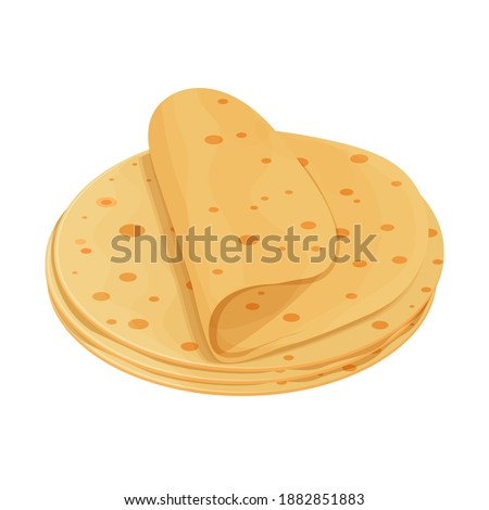 Pita bread, tortilla detailed and colorful isolated on white background. Ingredient for Mexican food, cuisine. Delicious snack, design element for menu, advertising.  Foto stock ©