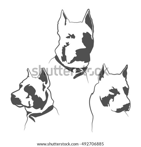 pitbul dog silhouette american