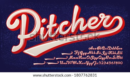 Pitcher script alphabet: A baseball style two-color logo font.
