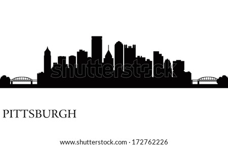 Pittsburgh city skyline silhouette background. Vector illustration