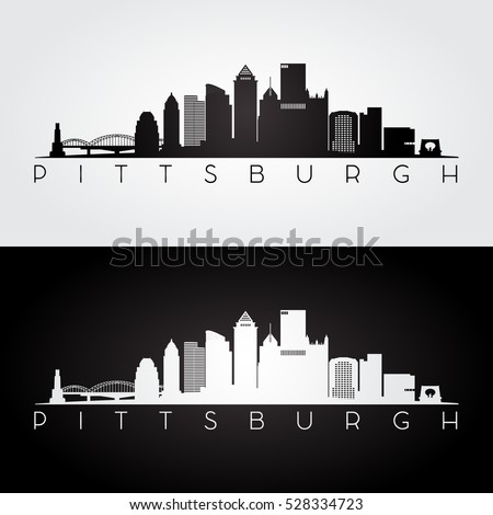 Pittsburgh USA skyline and landmarks silhouette, black and white design, vector illustration.