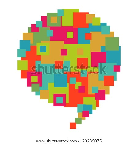 Pixel abstract art in social speech bubble shape. Vector file layered for easy manipulation and custom coloring.