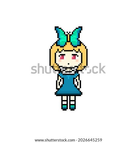 pixel adorable kid with bow